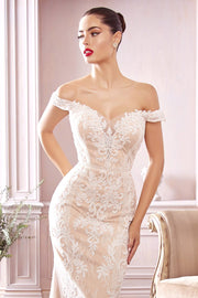Off Shoulder Lace Bridal Gown by Cinderella Divine CDS402