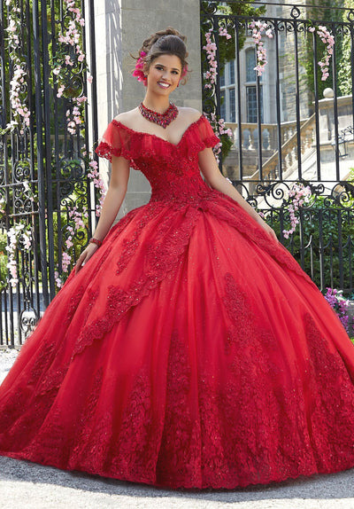 Off Shoulder Lace Quinceanera Dress by Mori Lee Valentina 34025-Quinceanera Dresses-ABC Fashion