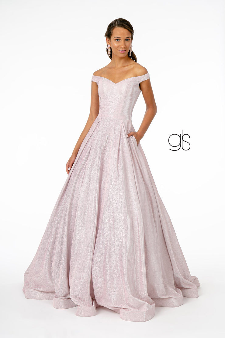 Off Shoulder Long Iridescent Glitter Dress by Elizabeth K GL2904