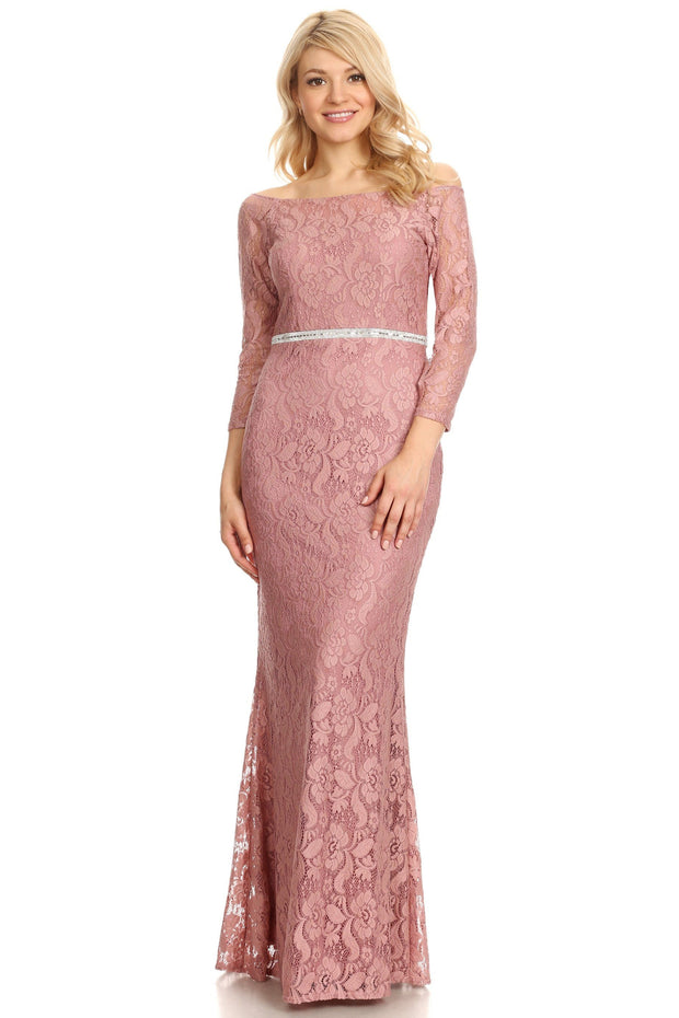 Off Shoulder Long Lace Dress with Sleeves by Celavie 6343L-Long Formal Dresses-ABC Fashion