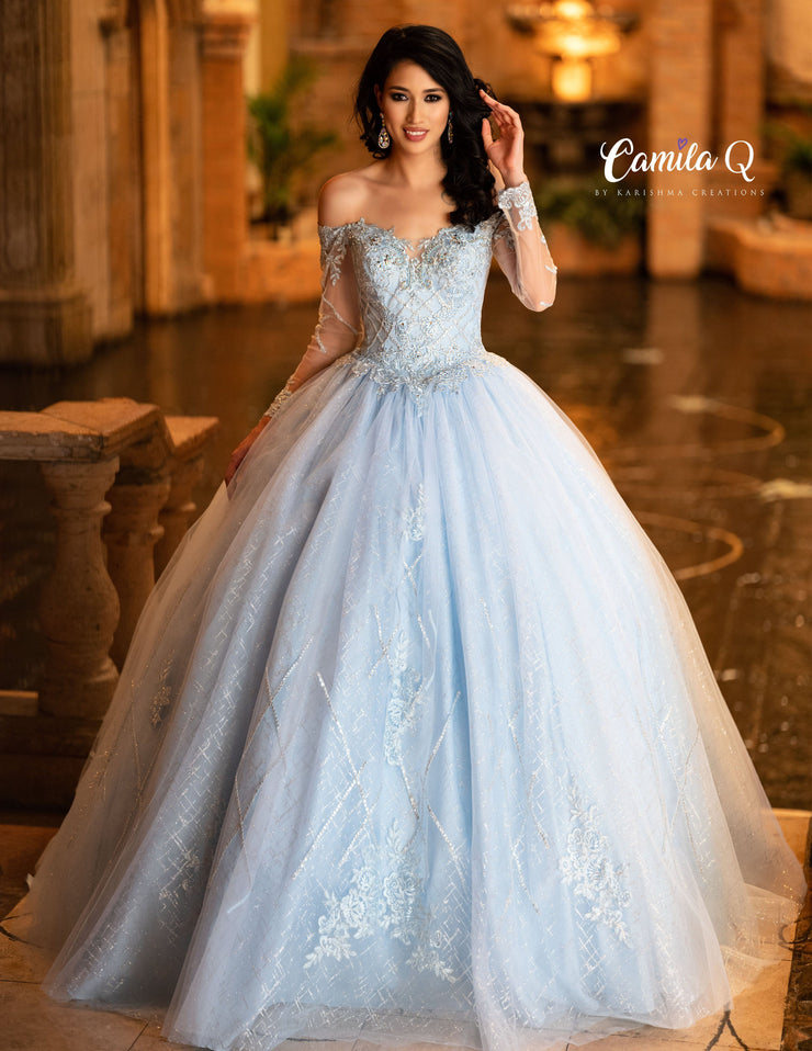 Off Shoulder Long Sleeved Quinceanera Dress by Camila Q Q19003-Quinceanera Dresses-ABC Fashion