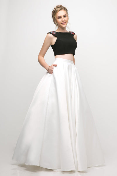 Off Shoulder Long Two-Piece Dress with Pockets by Cinderella Divine CA316-Long Formal Dresses-ABC Fashion