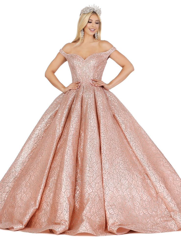 Off Shoulder Metallic Print Ball Gown by Dancing Queen 1421
