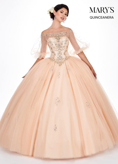 Off Shoulder Quinceanera Dress with Puff Sleeves by Mary's Bridal MQ2058-Quinceanera Dresses-ABC Fashion