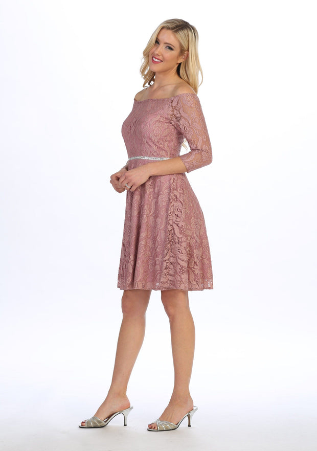 Off Shoulder Short Lace Dress with Mid-Sleeves by Celavie 6343-S-Short Cocktail Dresses-ABC Fashion