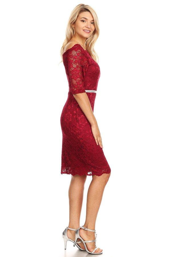 Off Shoulder Short Lace Dress with Mid-Sleeves by Celavie 6390-Short Cocktail Dresses-ABC Fashion
