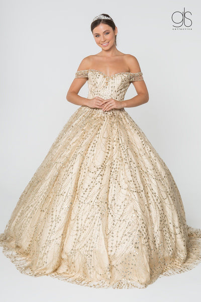Off Shoulder Sweetheart Glitter Ball Gown by Elizabeth K GL2831-Quinceanera Dresses-ABC Fashion