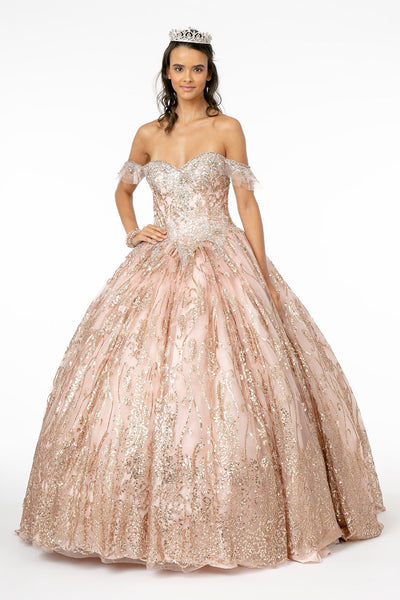 Off Shoulder Sweetheart Glitter Ball Gown by Elizabeth K GL2913-Quinceanera Dresses-ABC Fashion