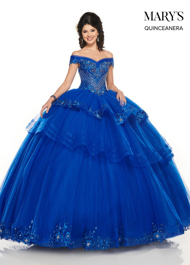Off Shoulder Tiered Quinceanera Dress by Mary's Bridal MQ2085-Quinceanera Dresses-ABC Fashion