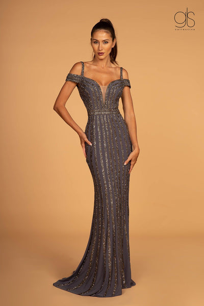 Off Shoulder Trumpet Dress with Illusion V-Neck by GLS Gloria GL2629-Long Formal Dresses-ABC Fashion