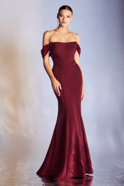 Off Shoulder Trumpet Gown by Cinderella Divine CD223