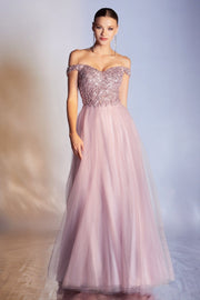 Off Shoulder Tulle Gown by Cinderella Divine CD0177