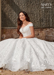 Off Shoulder Wedding Ball Gown by Mary's Bridal MB6075