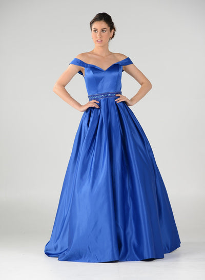 Off the Shoulder A-line Gown with Beaded Waist by Poly USA 7936-Long Formal Dresses-ABC Fashion