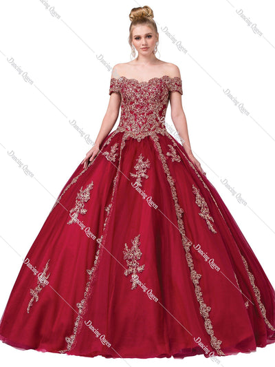 Off the Shoulder Ball Gown with Embroidery by Dancing Queen 1289-Quinceanera Dresses-ABC Fashion