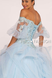 Off the Shoulder Ball Gown with Sheer Sleeves by Elizabeth K GL2601-Quinceanera Dresses-ABC Fashion