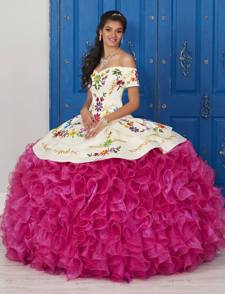 Off the Shoulder Floral Charro Dress by House of Wu LA Glitter 24033-Quinceanera Dresses-ABC Fashion