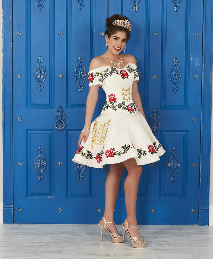 Off the Shoulder Floral Charro Dress by House of Wu LA Glitter 24035-Quinceanera Dresses-ABC Fashion