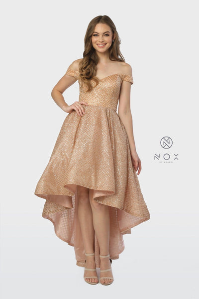 Off the Shoulder Glitter High Low Dress by Nox Anabel R164-Long Formal Dresses-ABC Fashion