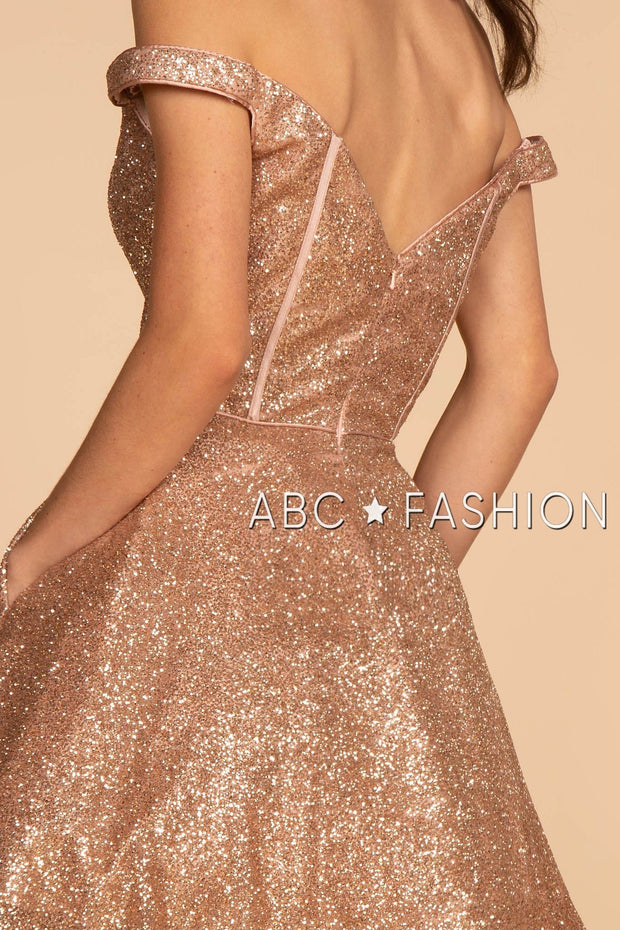 Off the Shoulder Glitter Mesh Short Dress by Elizabeth K GS1626-Short Cocktail Dresses-ABC Fashion