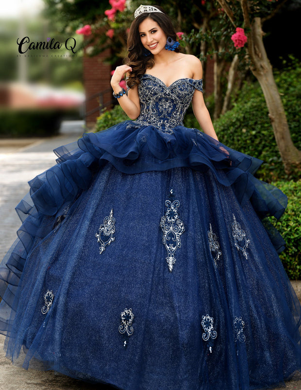 Off the Shoulder Glitter Quinceanera Dress by Camila Q Q1008-Quinceanera Dresses-ABC Fashion