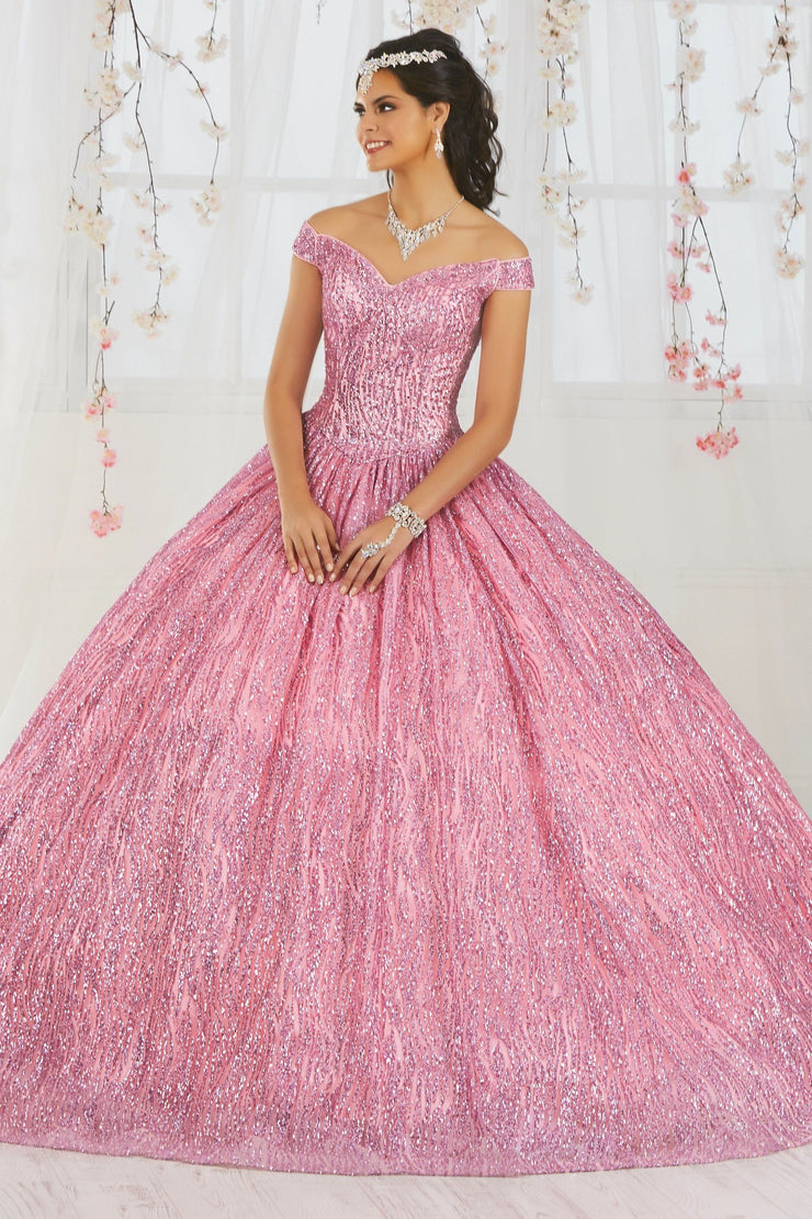 Off the Shoulder Glitter Quinceanera Dress by Fiesta Gowns 56365-Quinceanera Dresses-ABC Fashion