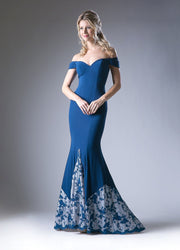 Off the Shoulder Gown with Floral Embroidery by Cinderella Divine 1606-Long Formal Dresses-ABC Fashion