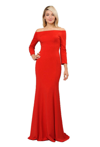 Off the Shoulder Gown with Long Sleeves by Poly USA 8378-Long Formal Dresses-ABC Fashion
