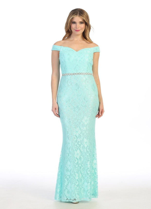 Off the Shoulder Lace Mermaid Dress by Celavie 6409