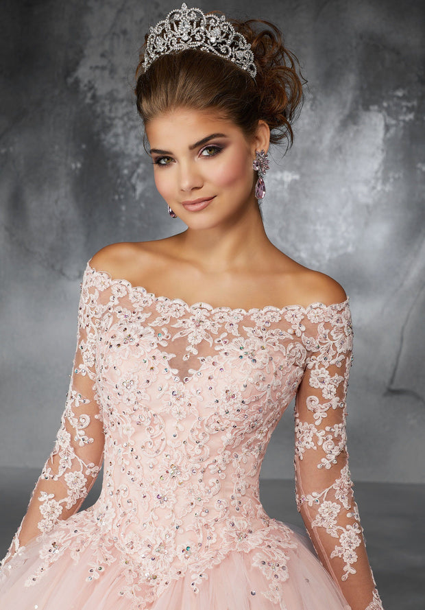 Off the Shoulder Lace Quinceanera Dress by Mori Lee Valencia 60052-Quinceanera Dresses-ABC Fashion