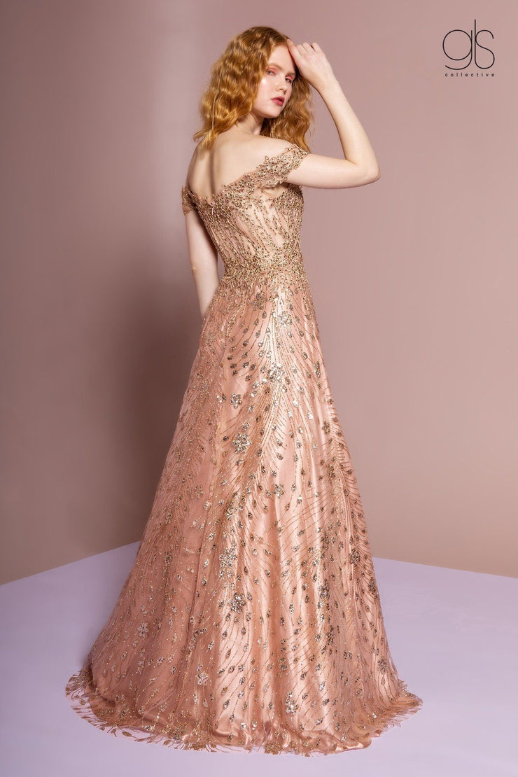 Off the Shoulder Long A-line Glitter Dress by GLS Gloria GL2620-Long Formal Dresses-ABC Fashion