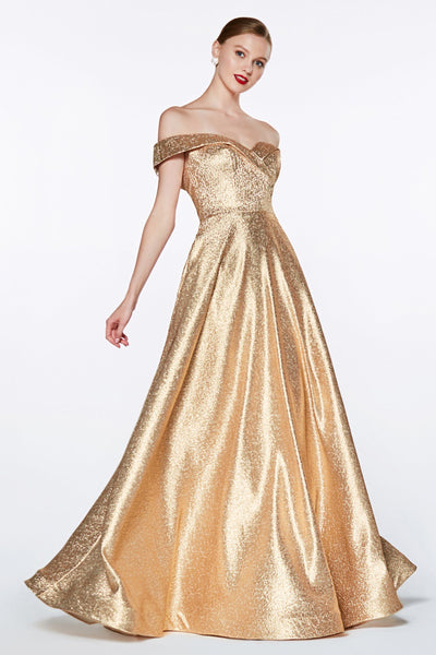 Off the Shoulder Metallic Glitter Gown by Cinderella Divine CJ268-Long Formal Dresses-ABC Fashion