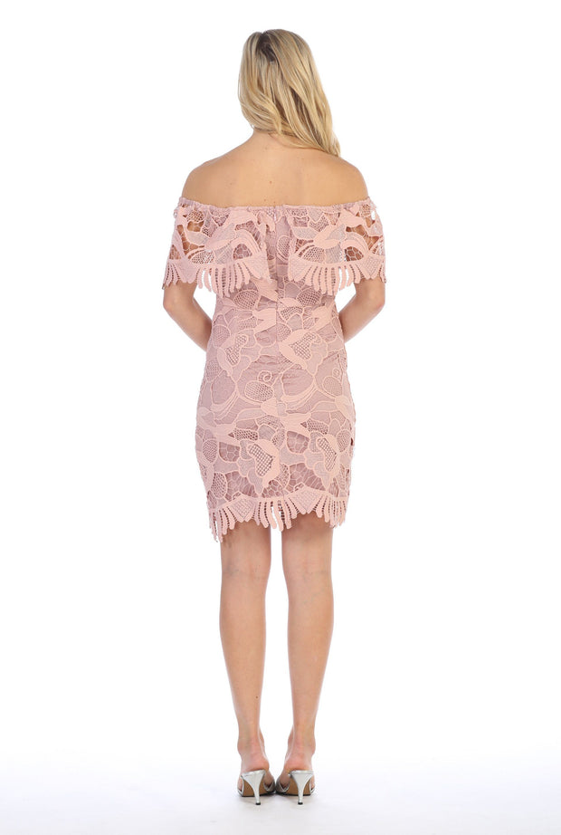 Off the Shoulder Short Flounce Lace Dress by Celavie 8508-Short Cocktail Dresses-ABC Fashion