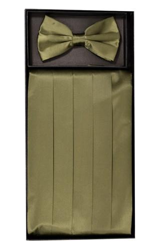 Olive Green Silk Satin Cummerbund and Bow Tie Set-Men's Cummerbund-ABC Fashion