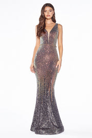 Ombre Sequin Mermaid Dress by Cinderella Divine J9273-Long Formal Dresses-ABC Fashion