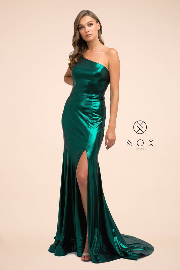 One Shoulder Long Iridescent Metallic Dress by Nox Anabel M327