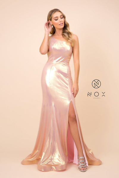 One Shoulder Iridescent Metallic Gown by Nox Anabel M327