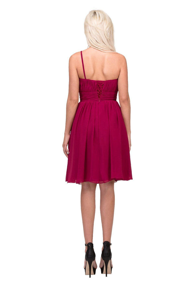 One Shoulder Ruched Short Dress with Corset Back by Star Box 6031-1-Short Cocktail Dresses-ABC Fashion