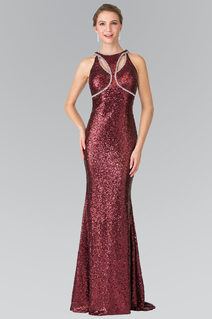 Open Back Sequined Dress with Jeweled Accents by Elizabeth K GL2217-Long Formal Dresses-ABC Fashion