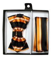 Orange Striped Bow Tie with Pocket Square (Pointed Tip)-Men's Bow Ties-ABC Fashion
