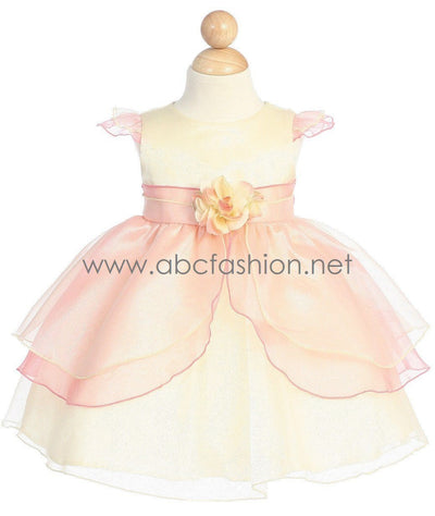 Organza Baby Girl Dress with Flower Decor - 2 Colors-Girls Formal Dresses-ABC Fashion