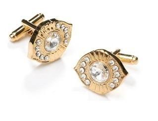 Oval Gold Cufflinks with Clear Crystals-Men's Cufflinks-ABC Fashion