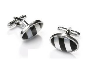 Oval Silver Cufflinks with Black and White Stripes-Men's Cufflinks-ABC Fashion