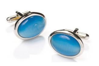 Oval Silver Cufflinks with Turquoise Stone-Men's Cufflinks-ABC Fashion