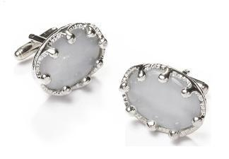Oval Silver Cufflinks with White Stone-Men's Cufflinks-ABC Fashion