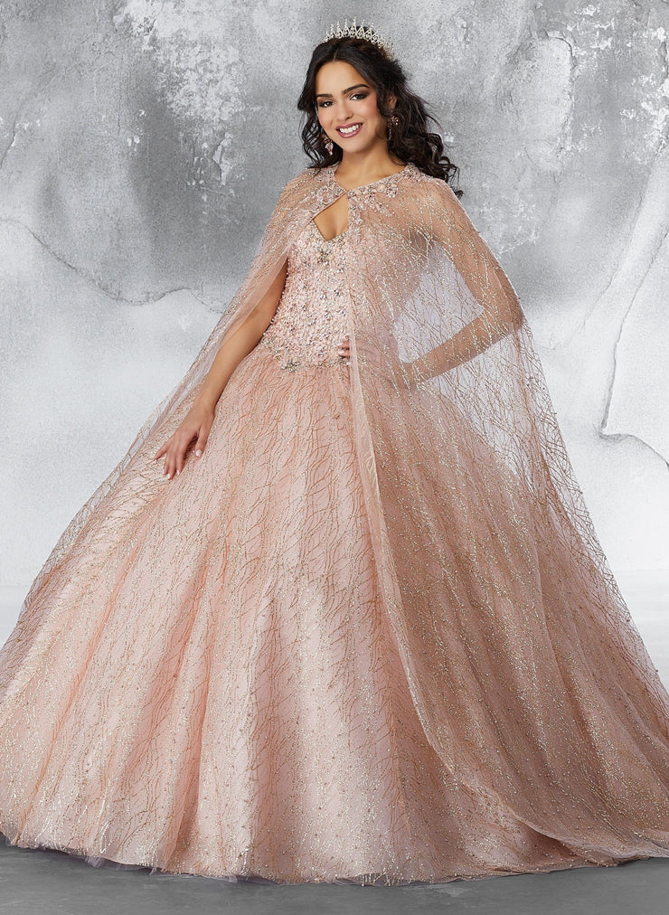 Patterned Glitter Mesh Cape by Mori Lee Vizcaya 89201-Quinceanera Dresses-ABC Fashion