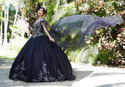 Patterned Glitter Net Cape by Mori Lee Vizcaya 89299