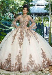 Patterned Sequin Quinceanera Dress by Mori Lee Vizcaya 89255-Quinceanera Dresses-ABC Fashion
