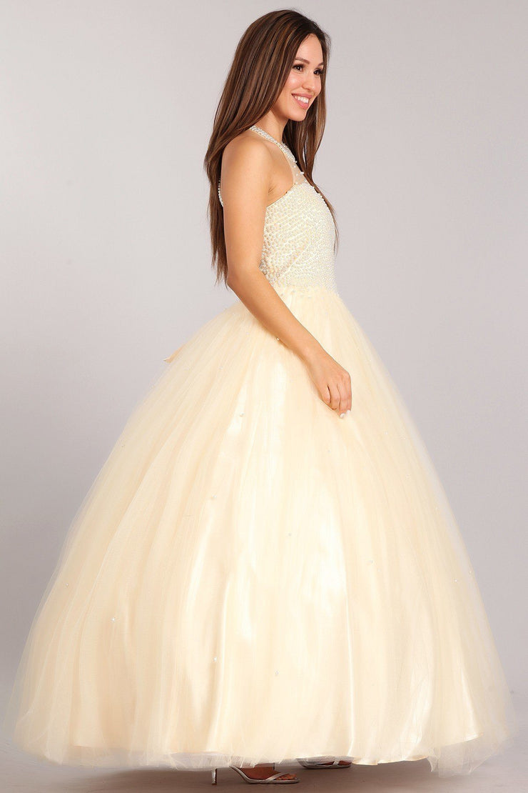 Pearl Beaded Halter Ball Gown by Cinderella Couture 5055