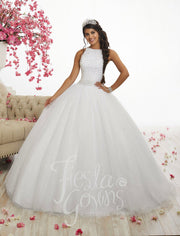 Pearl Beaded Halter Dress by House of Wu Fiesta Gowns Style 56318-Quinceanera Dresses-ABC Fashion